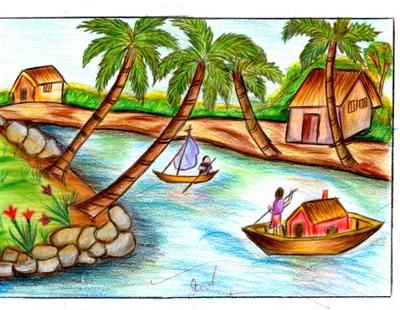 I am aparna s i love drawing when i saw d topic nature for How to draw nature for beginners