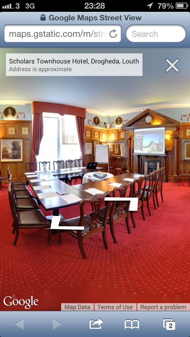 This is our small conference room in Scholars Townhouse Hotel. It is a beautiful elegant room with free wifi and all of the amenities of a modern facility.