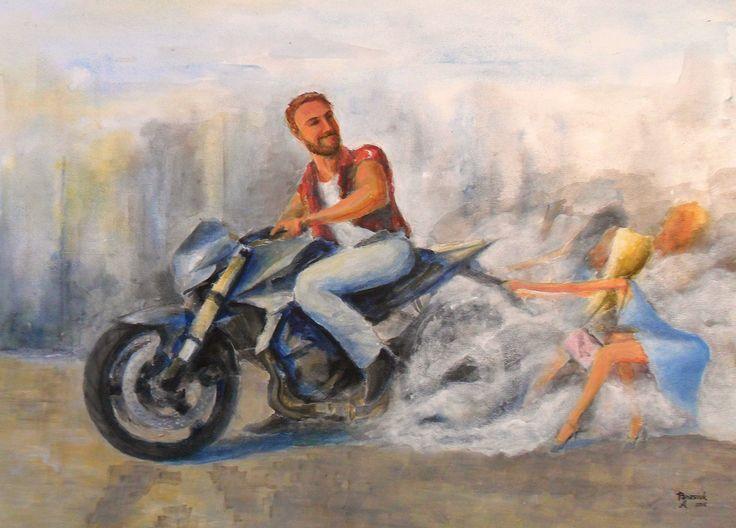 Acrylic, painting, moto-art, motorcycle, hand-draw, street
