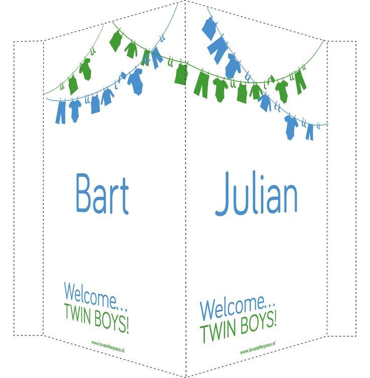 Geboortebord tweeling jongens waslijn.  blauw/groen   Birthannoucement twin boys! blue/green