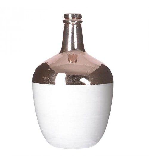 GLASS VASE IN WHITE_COPPER COLOR 15X15X26