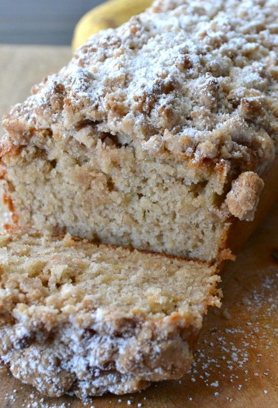 Cinnamon Crumb Banana Bread Used raw buttermilk and salted butter.