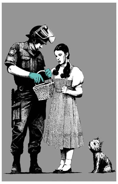 A great Banksy poster! No one escapes police hassle - not even Dorothy and Toto who're off to see the Wizard of Oz! Ships fast. 11x17 inches. Check out the rest of our awesome selection of Banksy post
