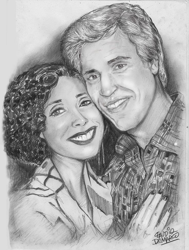 Retrato feito á lápis do casal central da novela A GATA COMEU, que passou na Globo nos anos 80.