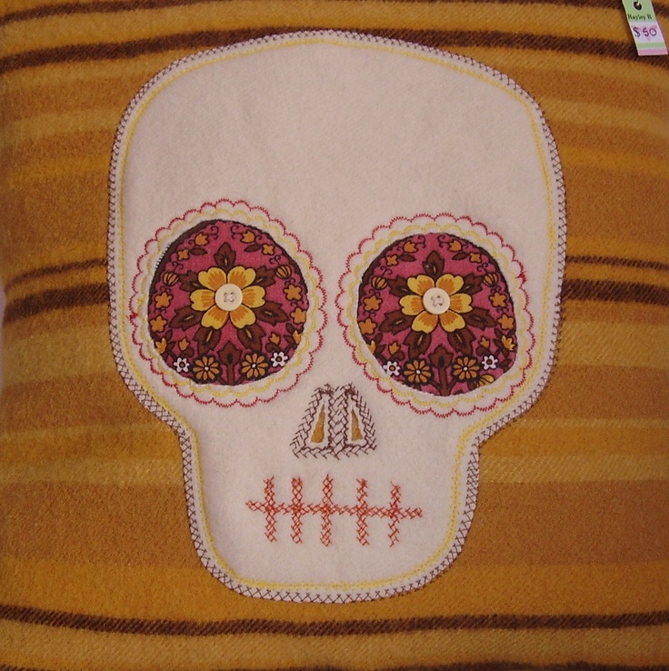 skull cushion .Made from recycled blankets.