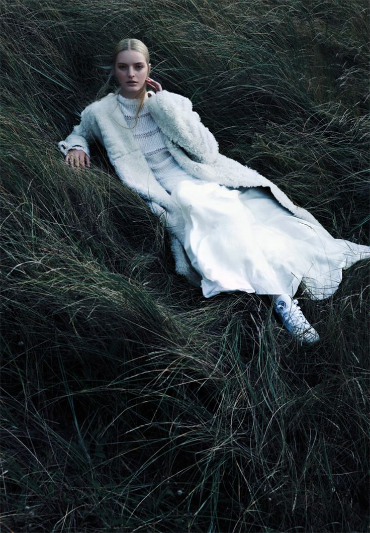 by Jasper Abels | grassy | fashion in the forest | nature | woods | high fashion | fashion editorial | white gown | haute couture | relax | pose | res |
