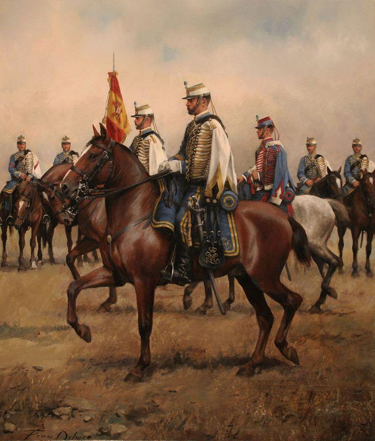 Húsar de la princesa 1877. Obra de Augusto Ferrer-Dalmau