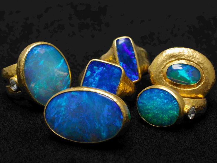 One-of-a-kind opal and 24k gold rings from GURHAN #opalsaustralia
