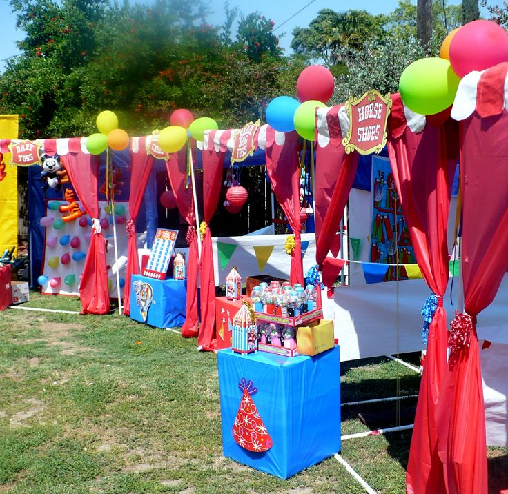 Carnival Birthday Party. Booths are made of PVC piping.