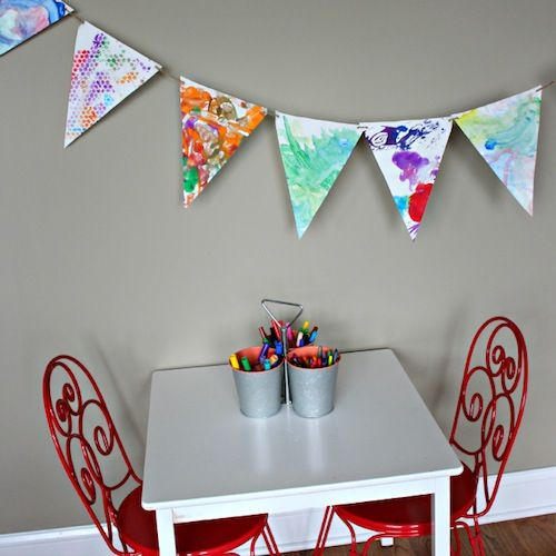 Turn your kid's artwork into a bunting