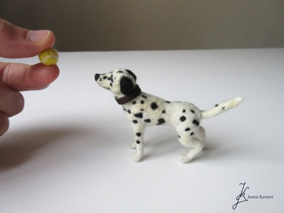 Needle Felted Dalmatian Dog in Scale 1:12 by KernertJuergeneering