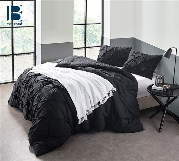 The Black #Pin_Tuck is a strong statement of your no-nonsense lifestyle. This eye-catching #Black_Comforter will fit your modern lifestyle perfectly with soft, #cozy comfort and warmth when you relax, read and surf the 'net on your #Oversized_Bedding. #Beautiful_Bedding #Black_Bedding #Dark_Bedding #Black_And_White_Bedding #Black_Decor #Black_Decor #New_Comforter #Best_Comforter #Best_Selling_Bedding