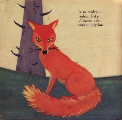 Polish Fox story illustration from Kto w lesie mieszka by Zdzislaw Witwicki, 1958,