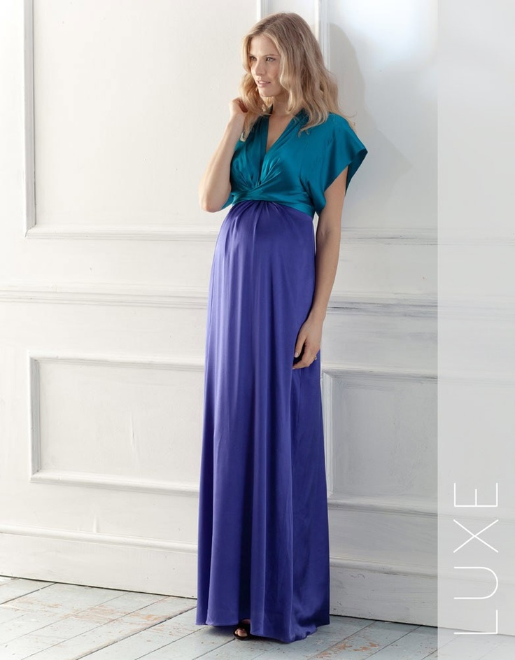 Colour Block Silk Maternity Maxi Dress