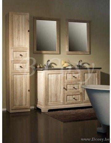 ll-bath-002kl-Landelijke-stijl-badkamer-Landelijk-badkamermeubel linkse kolomkast
