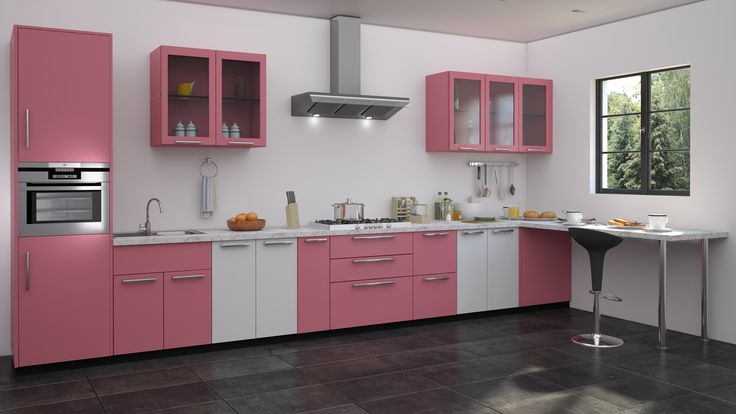 Pink white colour modualr kitchen designs straight for Kitchen trolley designs for small kitchens