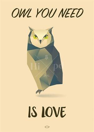 Hipd plakat | Owl You Need Is Love | Ugle | NordicMade