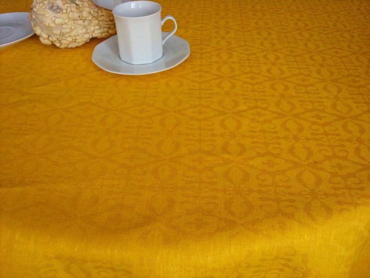 Yellow Jacquard LINEN TABLECLOTH Rectangle Linen Tablecloth Pattern Linen  For Table (85.00 USD) By