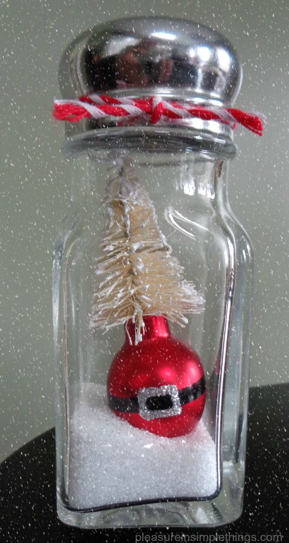 Santa ornament  salt shaker 'snow globe' by pleasure in simple things blog