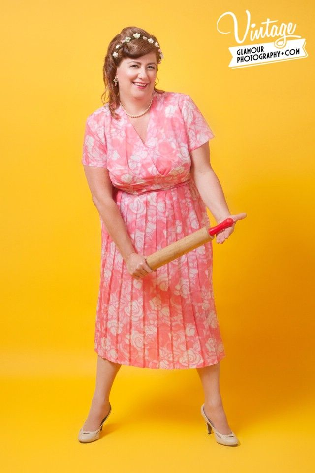 Watch Out Duchess has the rolling pin!Vintage Dress & flower band from Cape Of Love. www.capeoflove.com