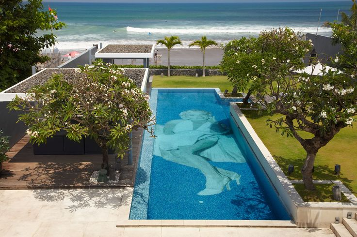 Luna2 private hotel, Bali. Beachfront view. Architecture design by David Wahl & Melanie Hall. #architecture #60s #pool #marilynmonroe #design #melaniehall #melaniehalldesign