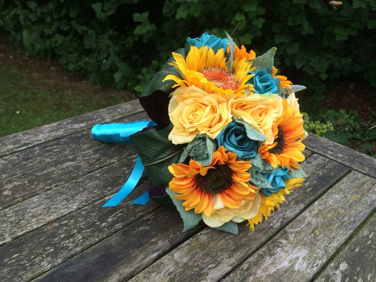 Artificial sunflower yellow and teal wedding bouquet ...