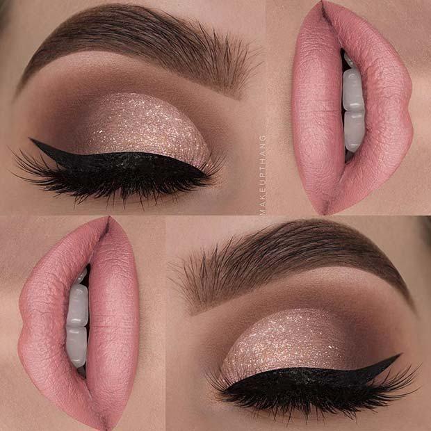 23 Glam Makeup Ideas For Christmas 9 Subtle Shimmer Christmas Makeup Eye Makeup Glam Makeup Eye Make Up