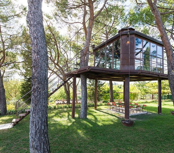 When you think of Tuscany, you probably picture tiled roofs, stone or stucco walls, and beautiful rustic shutters. A modern treehouse might not be what comes to mind, but this unique property is number three on Airbnb's list. The one-bedroom home has a fireplace and terrace—plus, there's also a swimming pool, tennis court, olive trees, and a kitchen garden to explore.