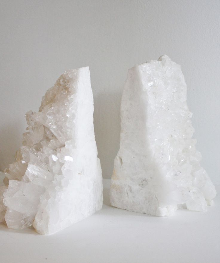 Large Natural White Quartz Bookends