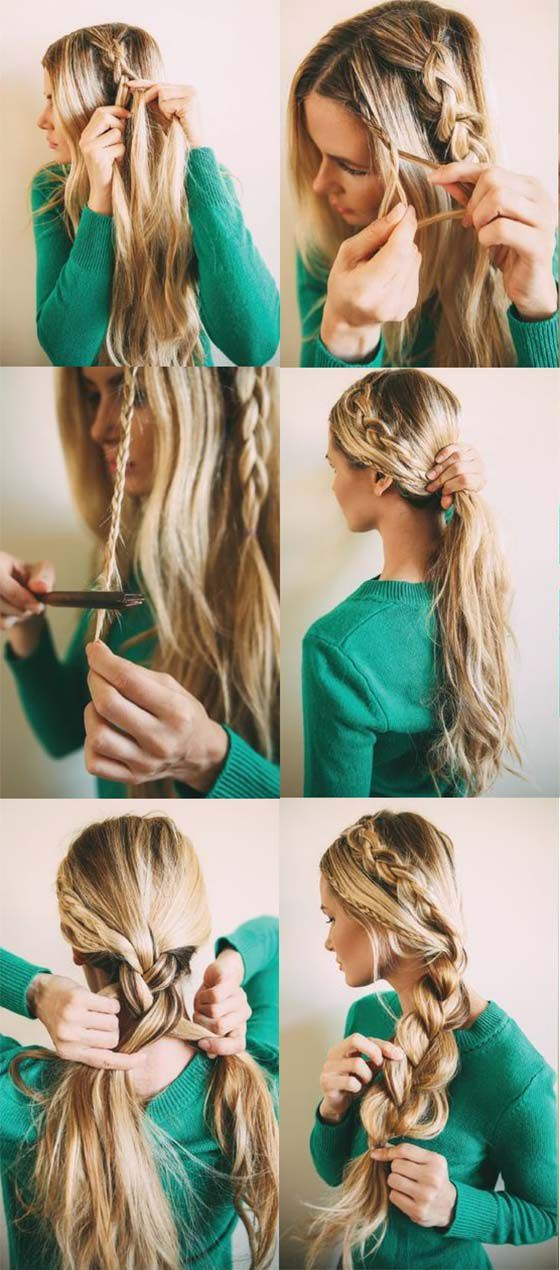 width braid for pony tail - cola de caballo trenzada y ancha
