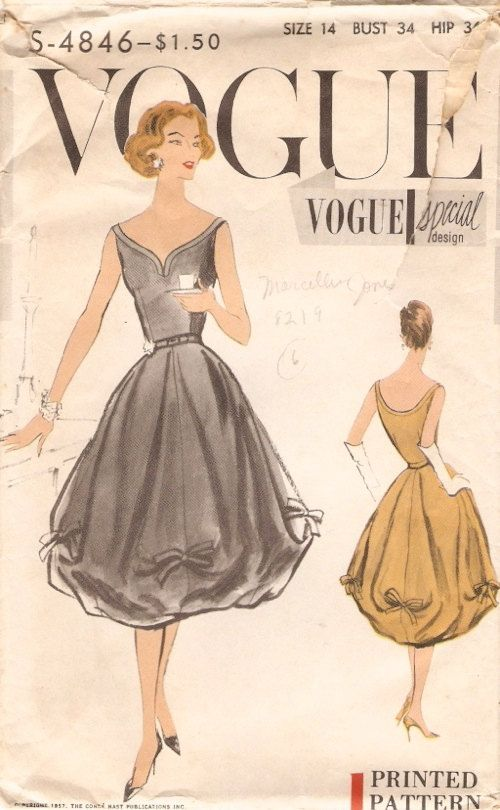 Fabulous Vintage 1957 Vogue Special Design Pattern for a Dress, Pattern # S-4846 - The Sew-In Label is Included. Printed Pattern One Piece Dress