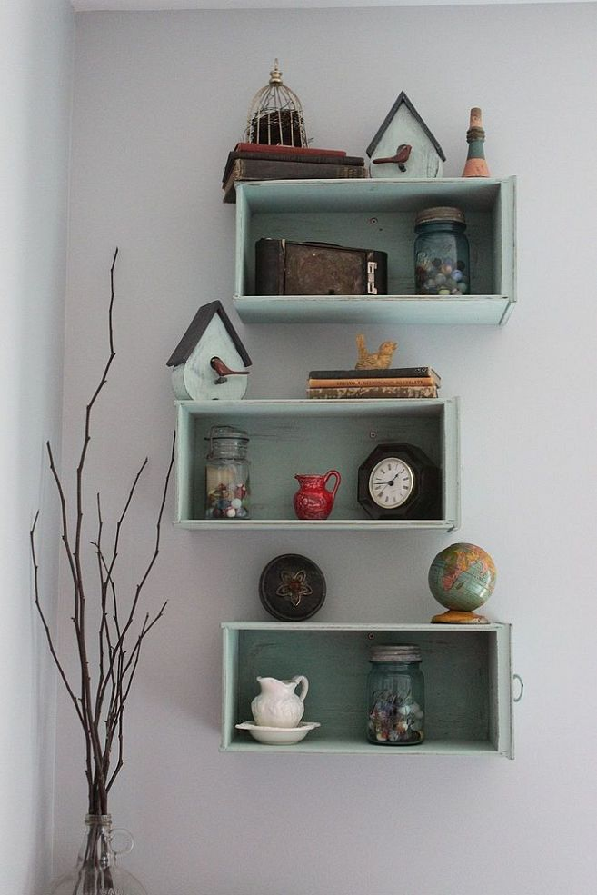 Need more space?  Try using these cast-away desk drawers, refurbished.  Clever, cheap and easy.  How cool is that ?  Hometalk :: Drawers Turned Shelves