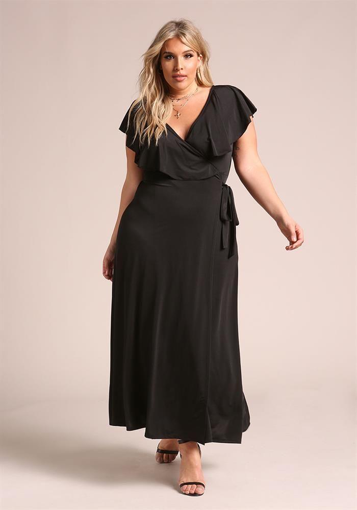 Plus Size Clothing | Plus Size Lustrous Faux Wrap Ruffle Maxi Dress ...