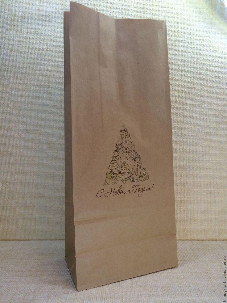 Купить Крафт-пакет с рисунком 15х35,5 см - бумажный пакет, пакет для мыла