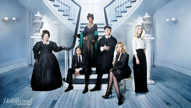 'American Horror Story - Coven' Cast and Co-Creators - From left: Kathy Bates, co-creator Brad Falchuk, Angela Bassett, co-creator Ryan Murphy, Jessica Lange and Sarah Paulson were photographed by Steve Schofield on Sept. 29 at Second Line Stages in New Orleans.