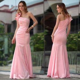 Sexy Sheath/Column One-Shoulder Floor-length beading Rushing Chiffon Pink Evening Dress