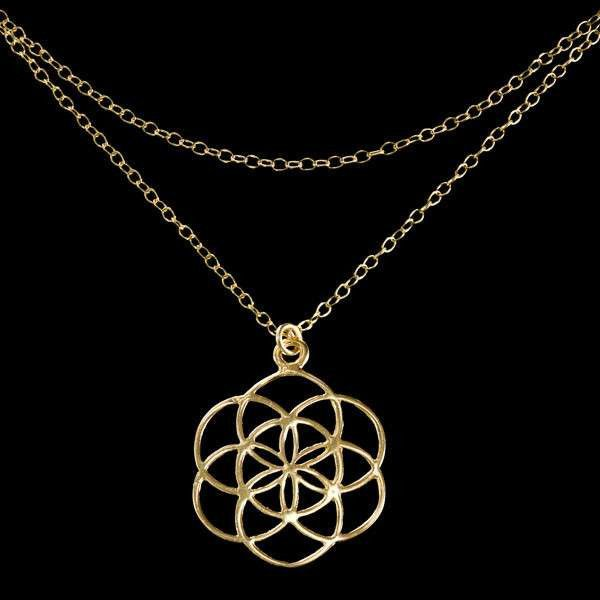 24 K Gold Plated Double Chain Seed Of Life Necklace
