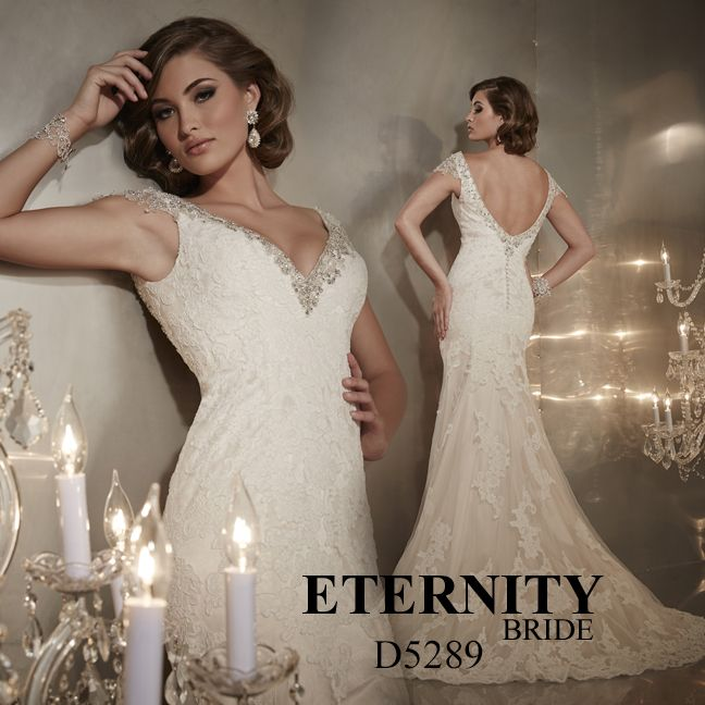 Lace sheath wedding dress with v neck and beaded capped sleeves. D5289 is available in Ivory, White or Ivory Gold as pictured. Call us to find your nearest retailer #eternitybridal #eternitygroup #weddingdresses #bridal #brides #bridalgown #gettingmarried #weddingshopping #weddingdressshopping #bigday #weddingday #dresses #lace #vintage