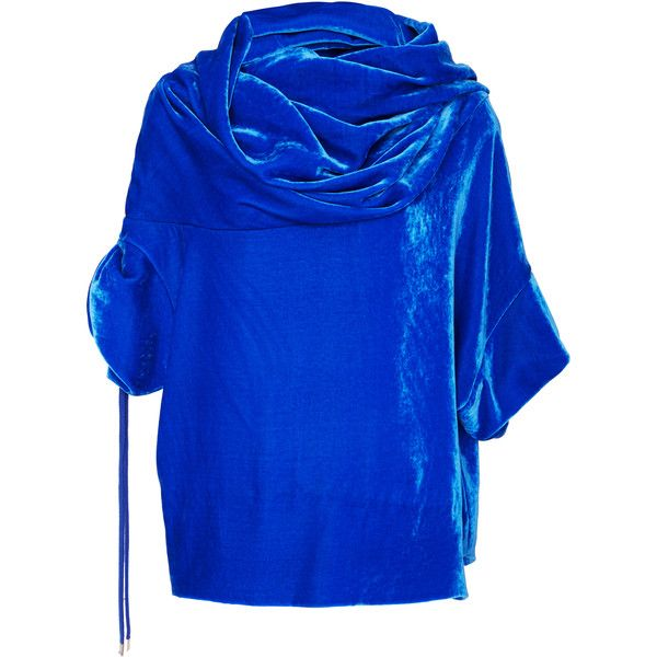 MONSE Velvet Top ($1,150) ❤ liked on Polyvore featuring tops, blue, velvet top, short sleeve tops, blue velvet top, cowl neck tops and blue top