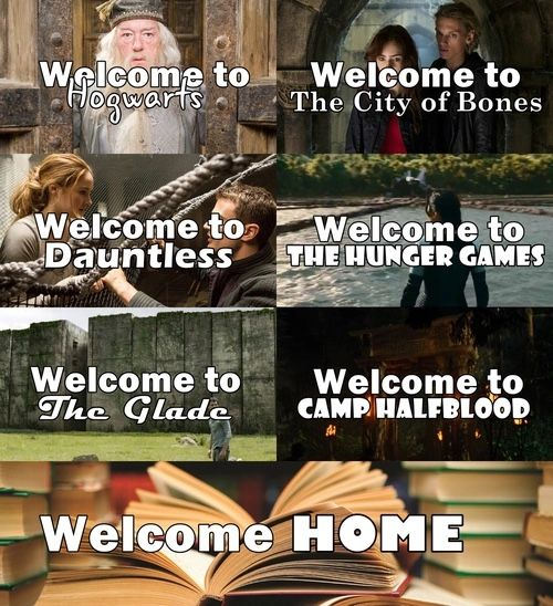 ... I wouldn't call the Hunger Games home... and I would die in Dauntless and the Glade from exhaustion... But CHB, Hogwarts and The City of Bones...