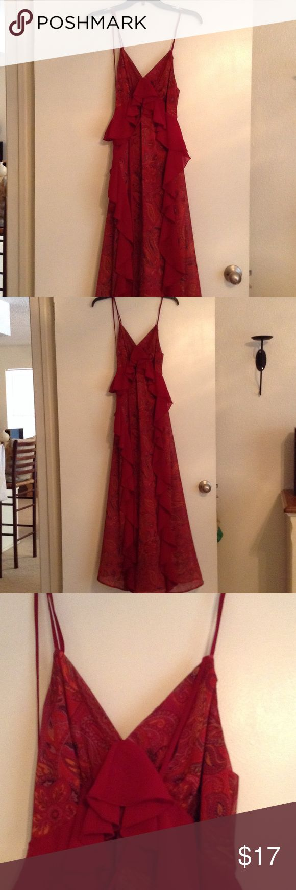 Red Paisley Ruffle Maxi Dress from Nasty Gal Beautiful ruffled dress from nasty gal. Soft chiffon material. I can model it, just won't be able to show the whole thing cuz I don't have a full length mirror. Offers welcome. Comment if you have any questions. Nasty Gal Dresses Maxi