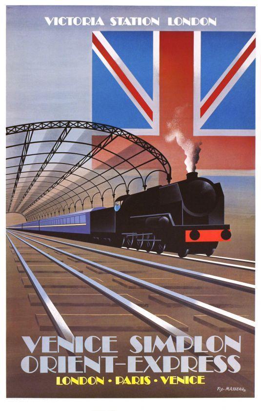 Venice Simplon Orient Express, Victoria Station London. VSOE Vintage Travel Poster. 1981