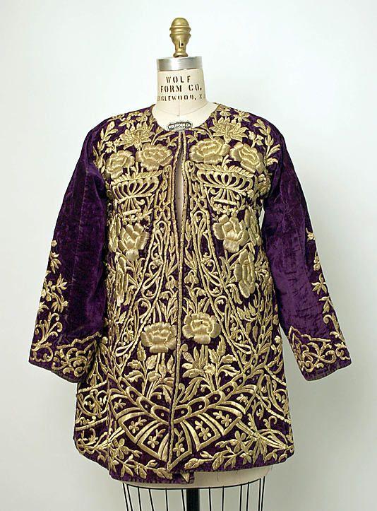 Woman's 'cepken' (long-sleeved bodice).  Late-Ottoman, mid-19th century.  Part of an urban festive ensemble.  Goldwork embroidery ('sarma' / 'Maraş işi') on velvet.
