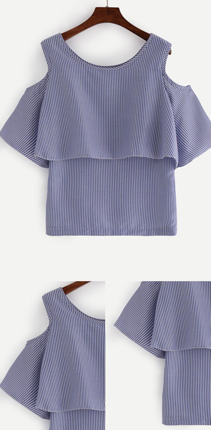 Open Shoulder Layered Vertical Striped Top - Blue