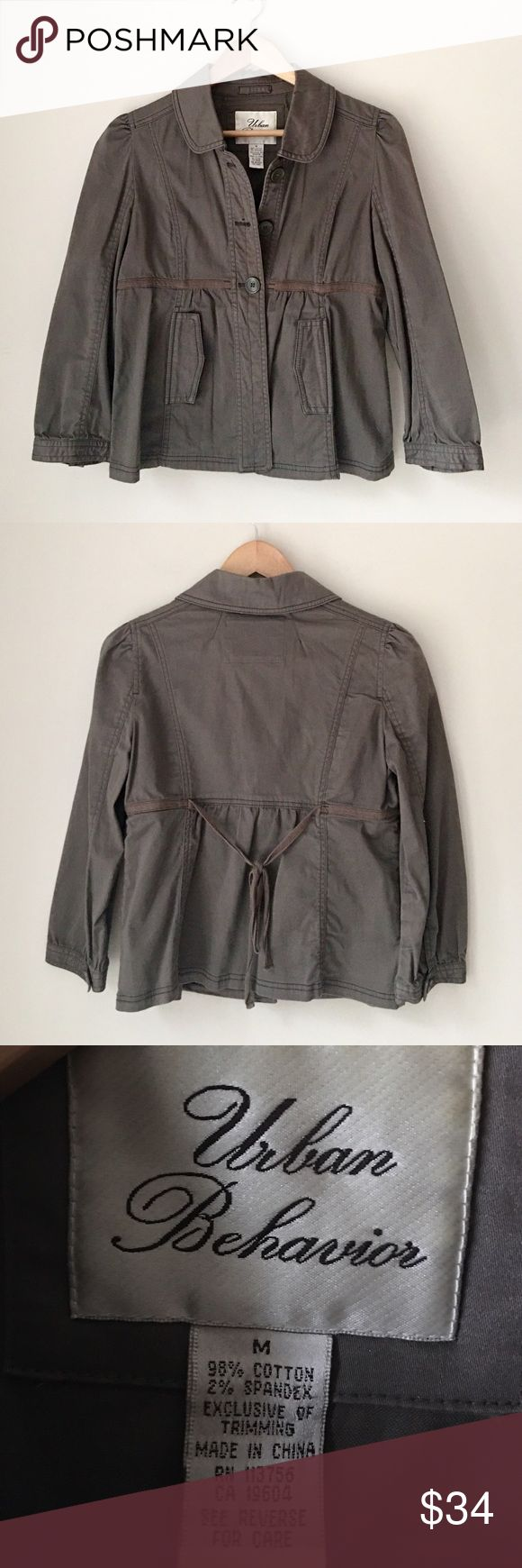 Urban Behavior Utility Jacket Olive green khaki jacket by Urban Behavior. Button front. Tie back. 98% cotton 2% spandex. Size Medium. EUC. Urban Behavior Jackets & Coats Utility Jackets