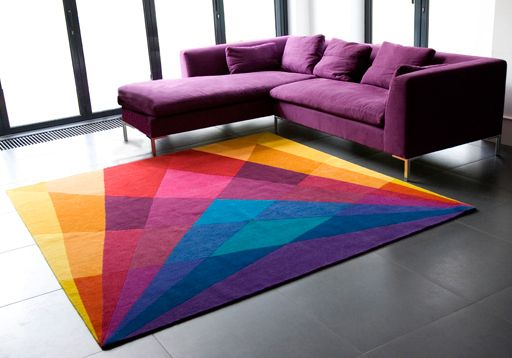 REALLY love the purple couch... but the rug is cool, too.   by Sonya Winner - Rainbow Rug