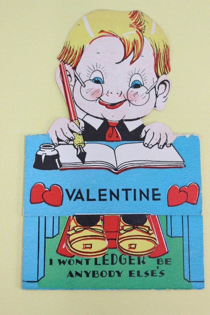 Vintage Valentine Greeting Card ~ Accountant With His Ledger ~ Blond Boy With Gl | eBay