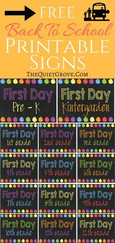 Free First day of School Printable signs. Pre-k, Kindergarten, 1st grade- 12th Grade. Rainbow colored Chalkboard style. Ready to print, frame and use for back to school photos.