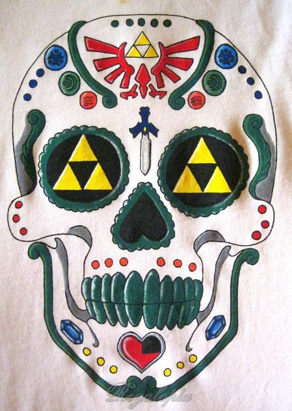"T-Shirts ""Zelda mexican skull"" / Camisetas Calavera mexicana Zelda  Bay: http://www.ebay.es/sch/regalopia/m.html?_nkw=&_armrs=1&_from=&_ipg=&_trksid=p3686    http://www.etsy.com/es/listing/121520588/camiseta-de-tirantes-calavera-mexicana"