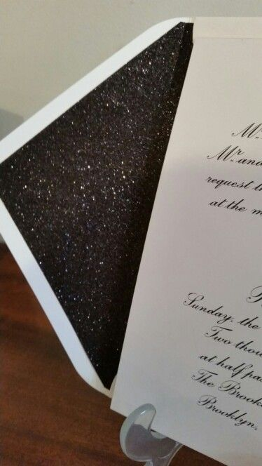 Glitter lining in the envelope for a vavavoom finish to our elegant engraved wedding invitation